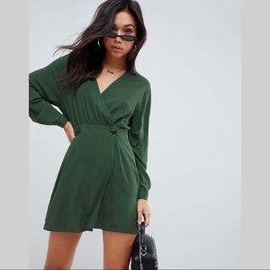 ASOS Casual wrap mini Dress Forest Green - US 12